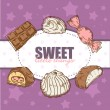 ストックベクタ: Retro card with tasty sweets