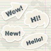 Speech balloons on notebook grunge sheet — Stock Vector