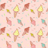 Colorful melting ice-cream seamless pattern — Stock Vector