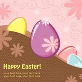 Pasen groet ansichtkaart met eieren — Stockvector