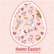 Stock Vector: Easter egg cute floral card with birds
