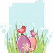 Stock Vector: Easter tag with eggs and chicken
