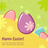Easter greeting postcard with eggs — Stock Vector