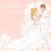 Bride and groom wedding card — Stock Vector
