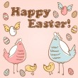Cute Easter card with hen, chicken and eggs — Stock Vector #9405162