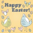 Cute Easter card with hen, chicken and eggs — Stock Vector #9405169