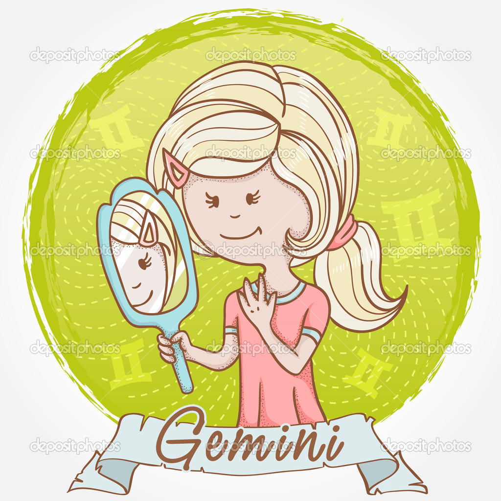 Illustration of Gemini zodiac sign in cute cartoon style as a girl with a mirror and reflection twins — Stock Vector #9839368