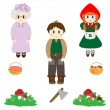Set of characters from Little Red Riding Hood fairy tale - Stock Vector