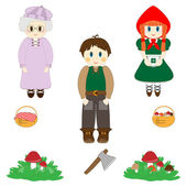 Set of characters from Little Red Riding Hood fairy tale — Stock Vector