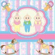 Stock Vector: Greeting card for babies triplets