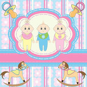 Greeting card for babies triplets — Stock Vector