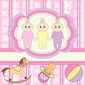 Greeting card for little girls triplets — Stock Vector