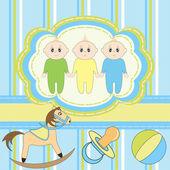 BasiGreeting card for little boys triplets — Stock Vector