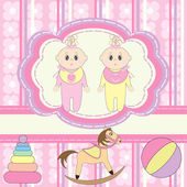 Greeting card for twins little girls — Stock Vector