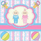 Twins Baby Invitation — Stock Vector