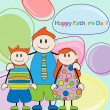 Happy Father's Day.Father and twins vector illustration - Stock Vector