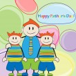Stock Vector: Happy Father's Day.Father and twins boys vector illustration