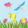 Stock Vector: Easter greeting card with dragonfly and egg