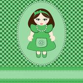 Küçük kız için tebrik kartı — Stok Vektör