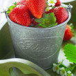 Stock Photo: Strawberries in bucket