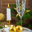 Christmas balls on a plate — Stock Photo