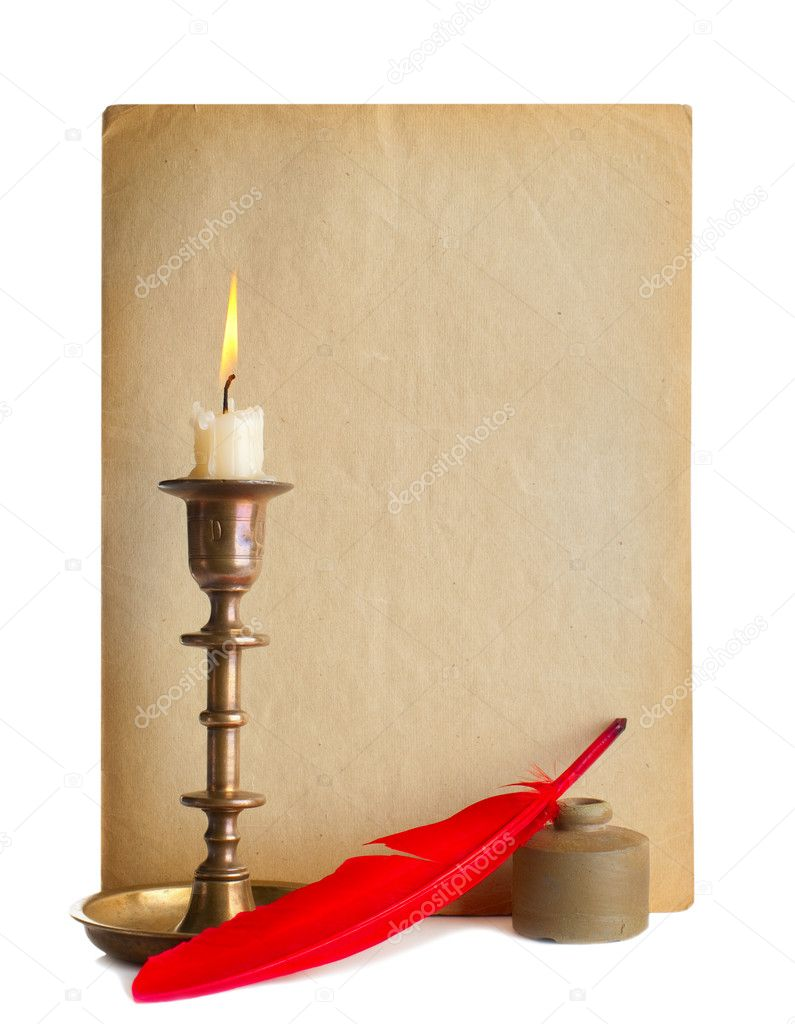 Red pen and ink and candle and old paper — Stock Photo #9447658