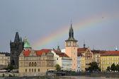 Rainbow above Charles bridge in Prague — Stock Photo