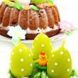 Easter still life with eggs and cake. — Stock Photo