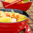 Stock Photo: Chinese fish soup with shrimp.