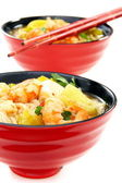 Chinese fish soup with shrimp. — Stock Photo