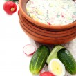 Preparation of a cold soup with kefir. — 图库照片