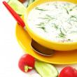 preparation of a cold soup with kefir. — Stock Photo