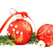 Christmas balls and a pine branch. — Stock Photo #7990229