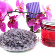Stock Photo: Spconcept is orchid and bottle of massage oil.