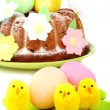 Stock Photo: Easter cake decorated with flowers.