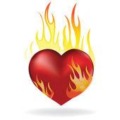 Heart in fire — Stock Vector
