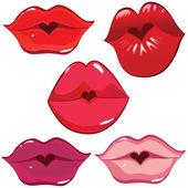 Set de labios brillantes en un tierno beso. — Vector de stock