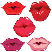 Set of glossy lips in tender kiss. — Stockvector