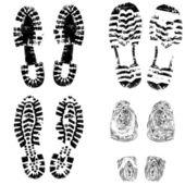 Huella de pie calzado de niño — Vector de stock