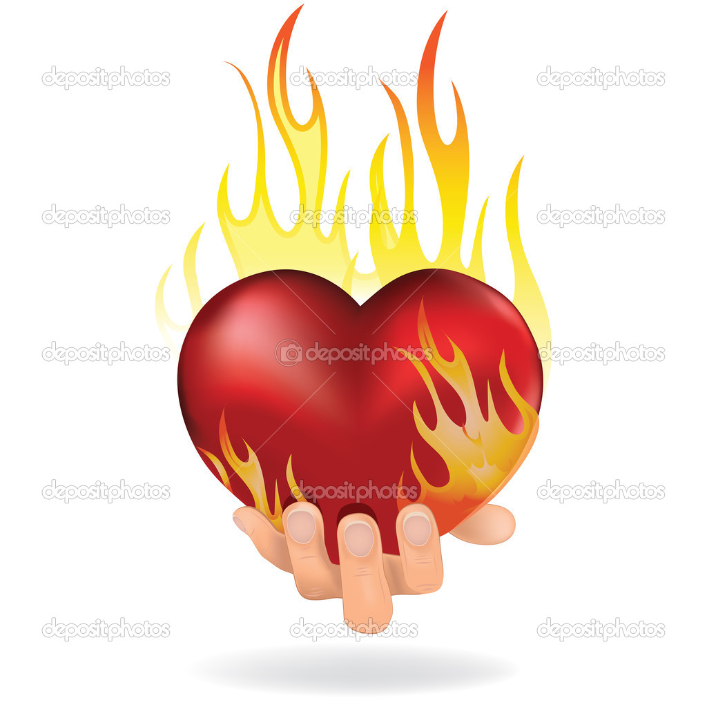 Heart love in fire icon gift to woman. Valentine day passion illustration. — Stock Vector #10223628