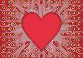 Heart in circuit board — Stock Vector