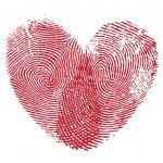 Lip print heart — Stock Vector