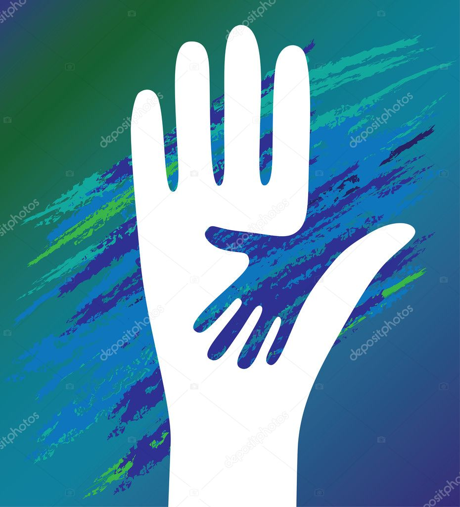 Hand of the child in father encouragement help. Support moral. — Stock Vector #8968672