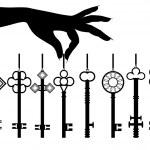 Silhouette female hand hold key set — Stock Vector #9209976