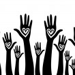 Hand like heart united seamless background. — Imagens vectoriais em stock