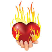 Heart in fire — Stock Vector