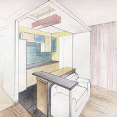 Kitchen interior drawing — Stock Photo