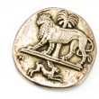 Antique silver brooch with lion and rabbit — Stock Photo