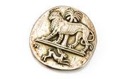 Aslan ve tavşan ile antika gümüş broş — Stok fotoğraf