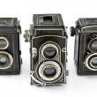Stock Photo: Three Vintage two lens photo camera